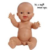 Paola Reina poppen Paola Reina Gordi  pop jongen lachend  bruine ogen 34 cm