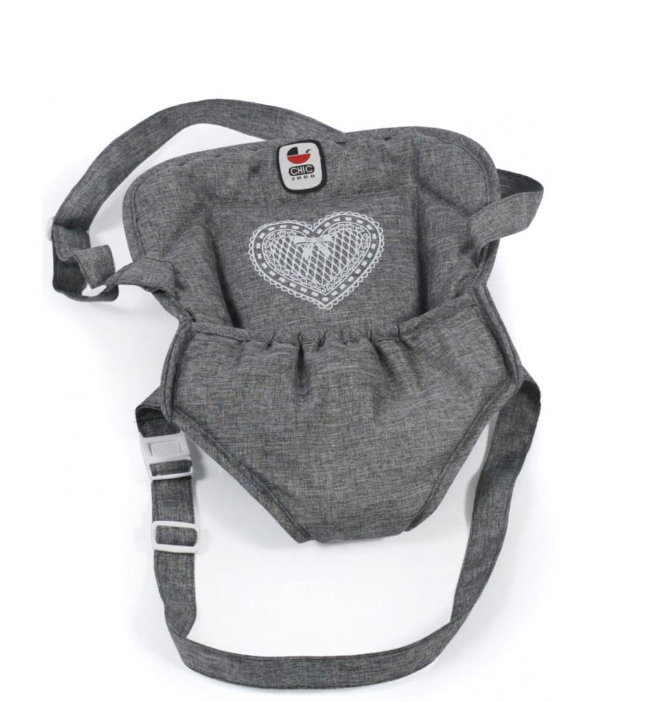 Babytrage grau für die Gordi und Miniland Puppen