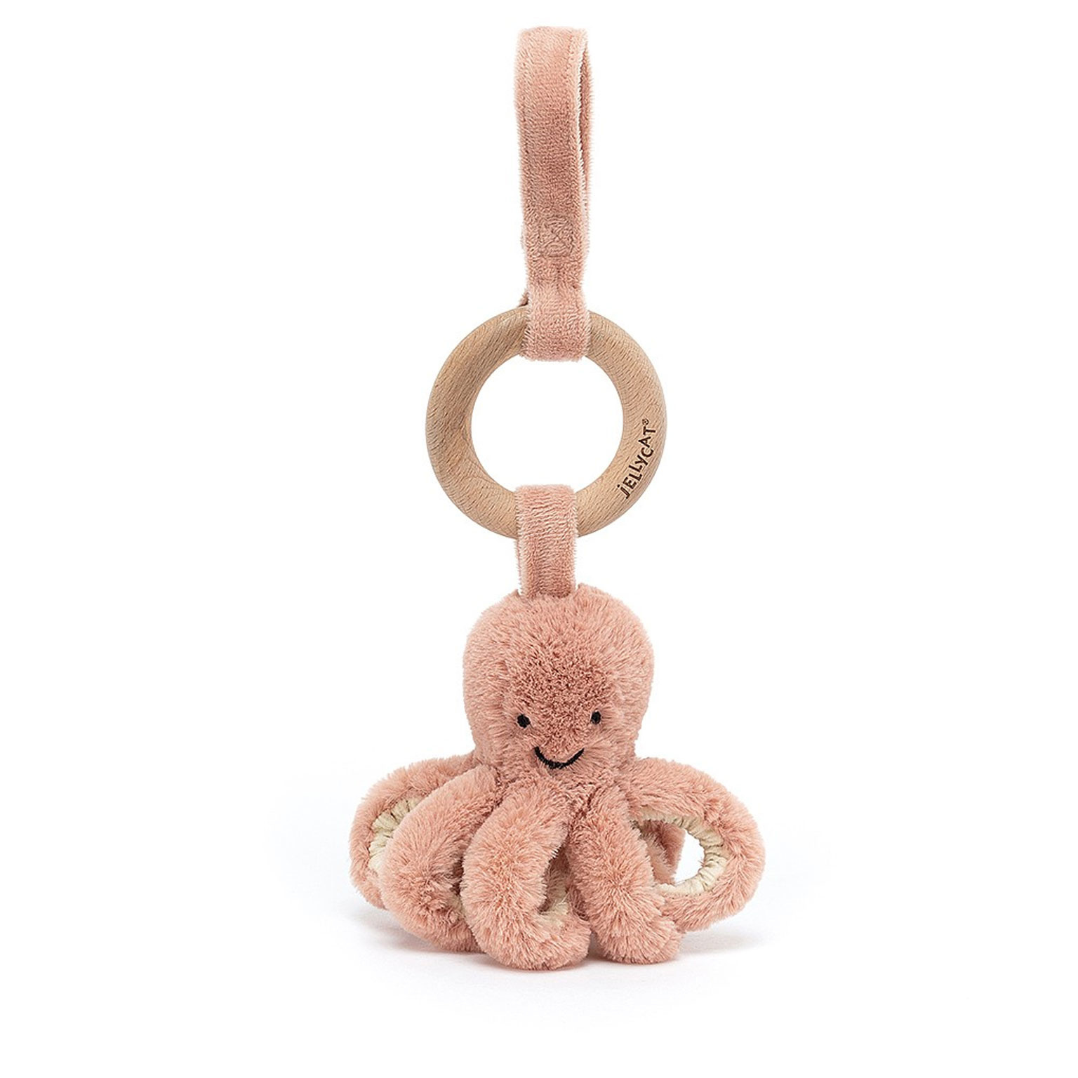 Jellycat knuffels Jellycat Odell octopus with wooden ring 21 cm