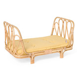 Poppie Toys Rattan doll bed with yellow mattress