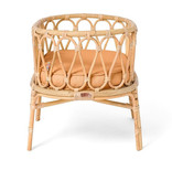 Poppie Toys Rattan doll cradle with caramel colored mattress