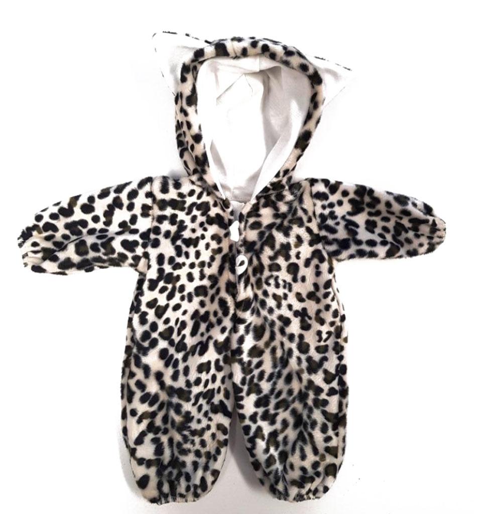 Poppen onesie luipaard  mt 36-40cm