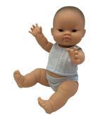 Paola Reina poppen Paola Reina babypop  jongen Aziatisch met ondergoed 34 cm