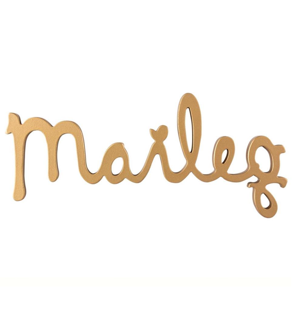 Maileg Maileg logo goud van hout 29,5 cm lang