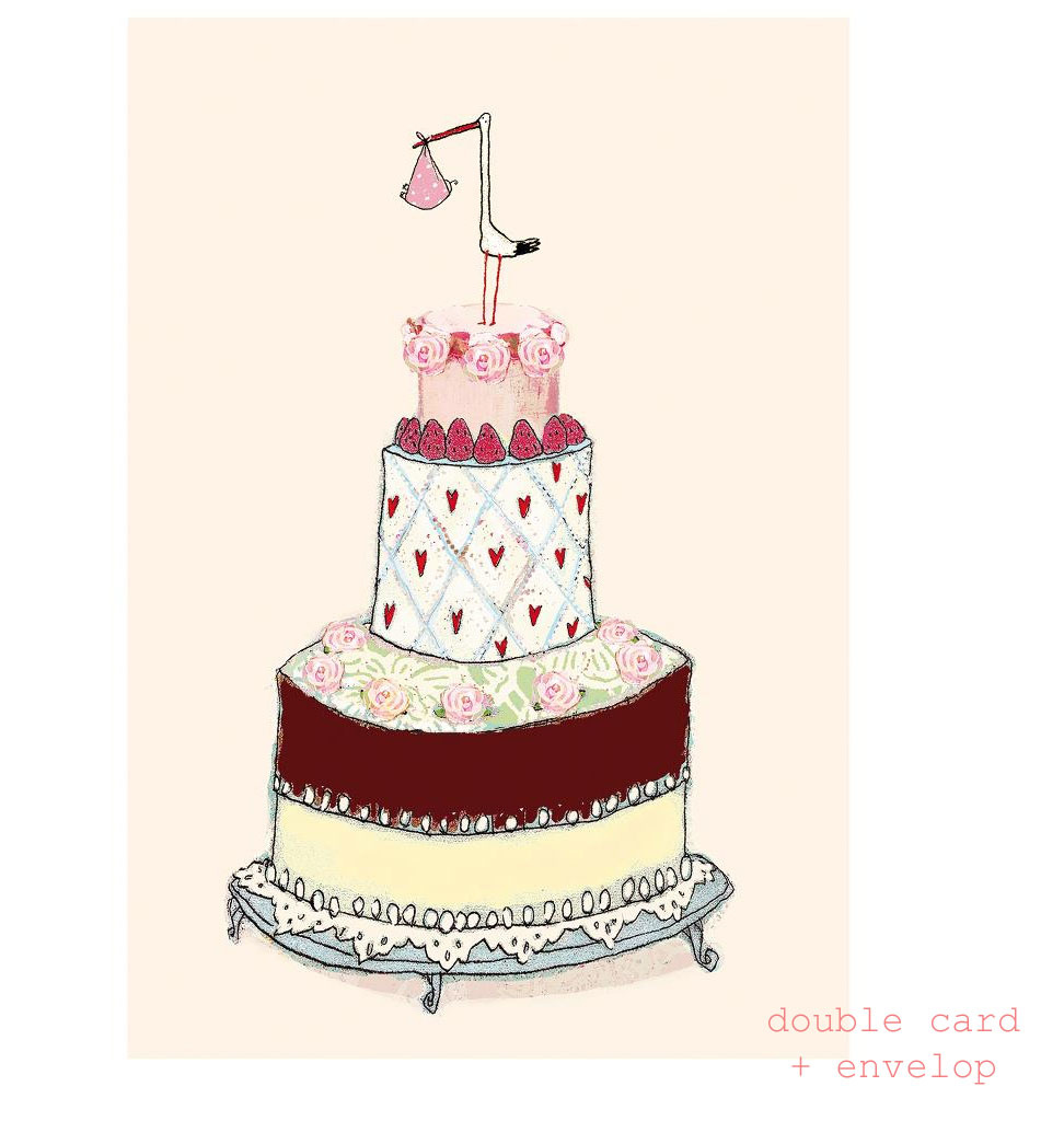 Maileg Maileg geboortekaart ooievaar roze + enveloppe