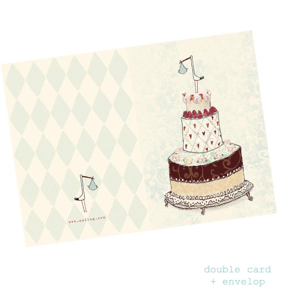 Maileg Maileg Geburtskarte Junge Storch blau + Umschlag