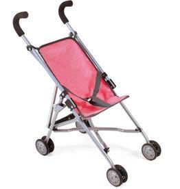 Poppenwagen buggy roze/grijs