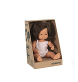 Miniland poppen Miniland doll girl with brown long hair 38 cm