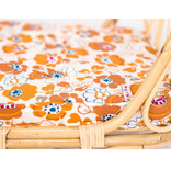 Poppie Toys Rattan crib for dolls with flower mattress