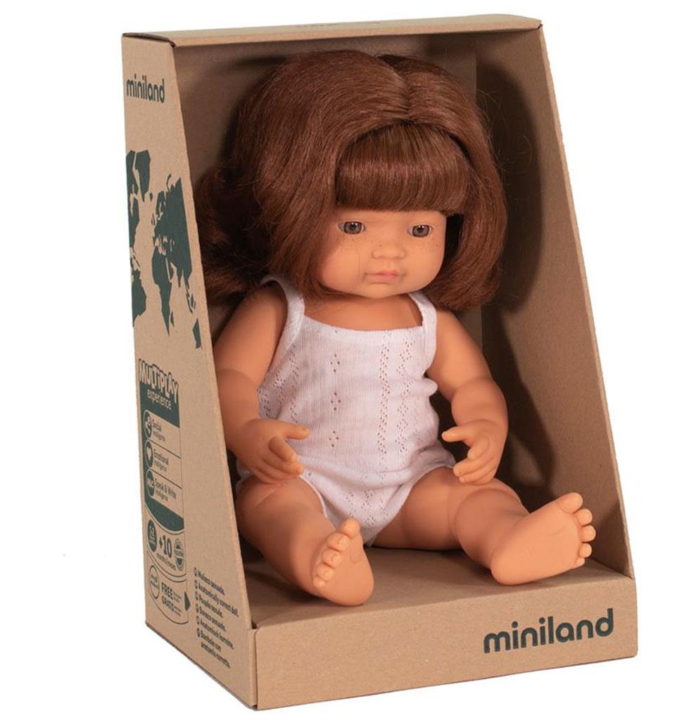 Miniland poppen Miniland Puppenmädchen mit roten Haaren 38 cm