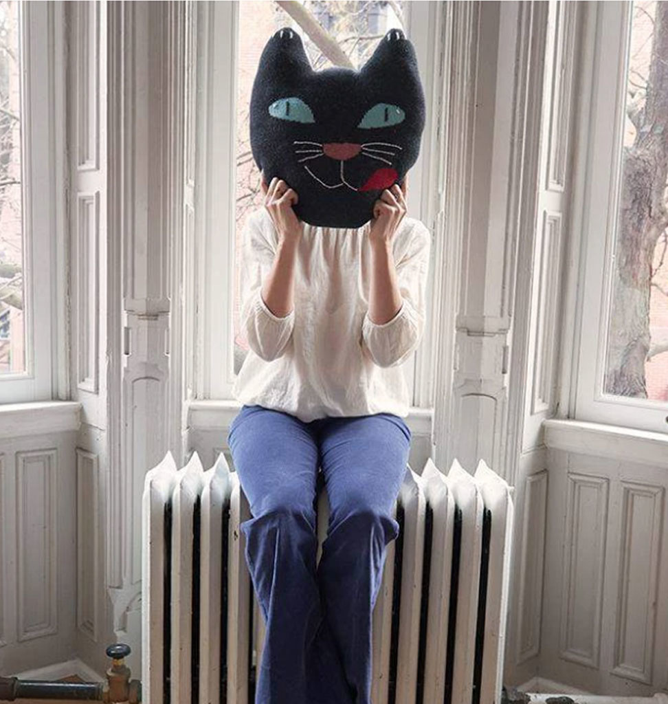 Oeuf NYC cushion black cat