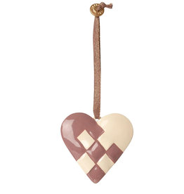 Maileg Maileg pendant heart of metal Dusty grape