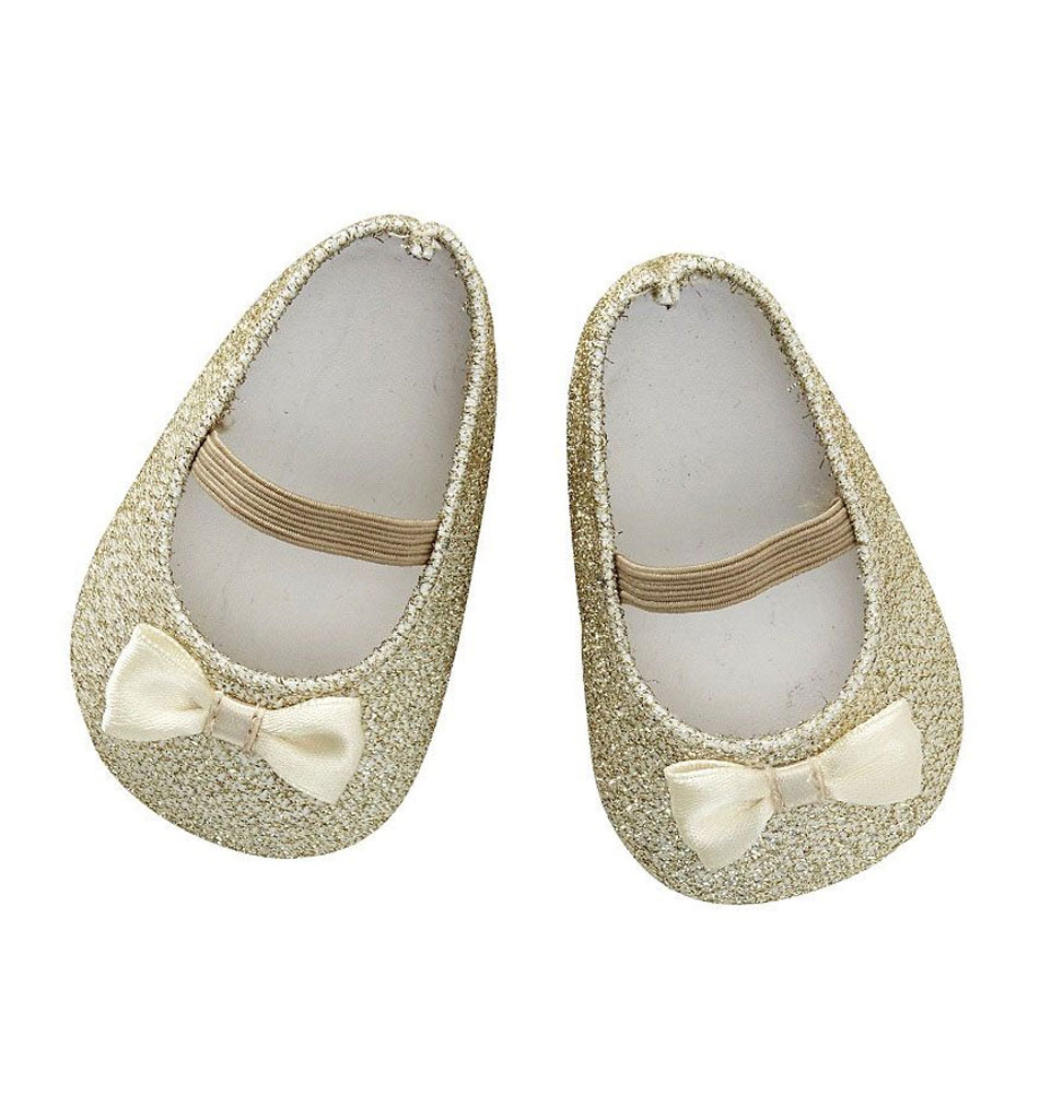 By Astrup / Mini Mommy  ByAstrup shoes gold with glitter and bow for Gordi dolls and doll size 35