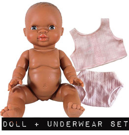 Paola Reina poppen Paola Reina Gordi girl brown with pink underwear set