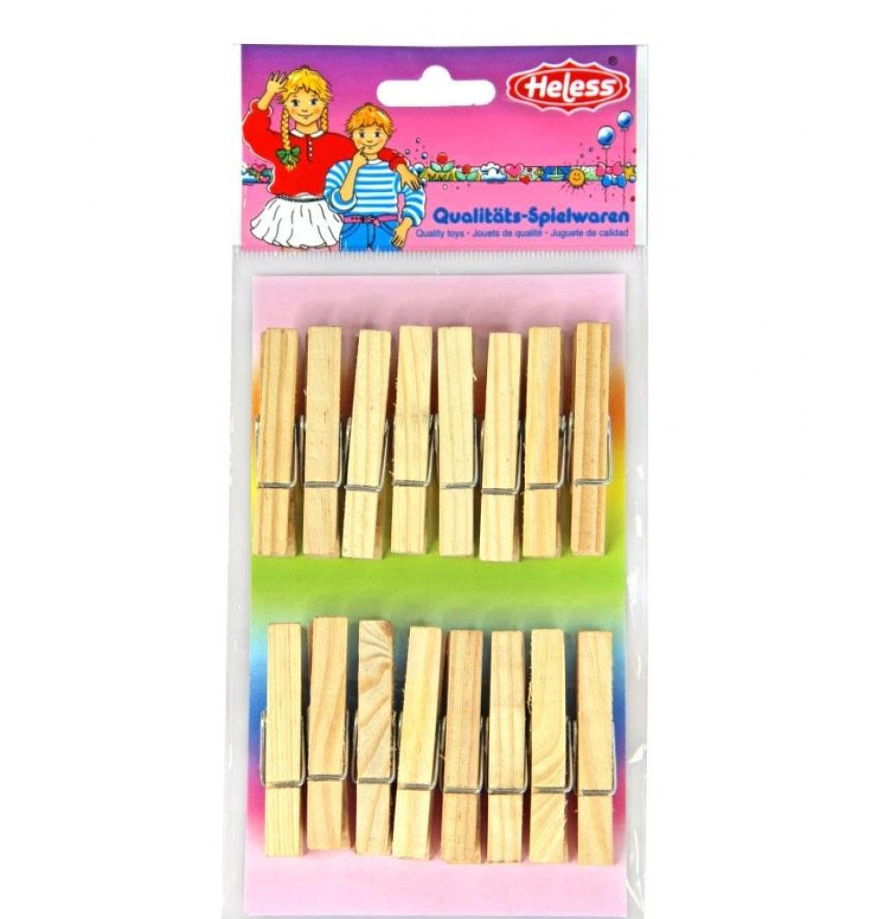 Heless Heless 16 houten wasknijpers voor poppenkleding