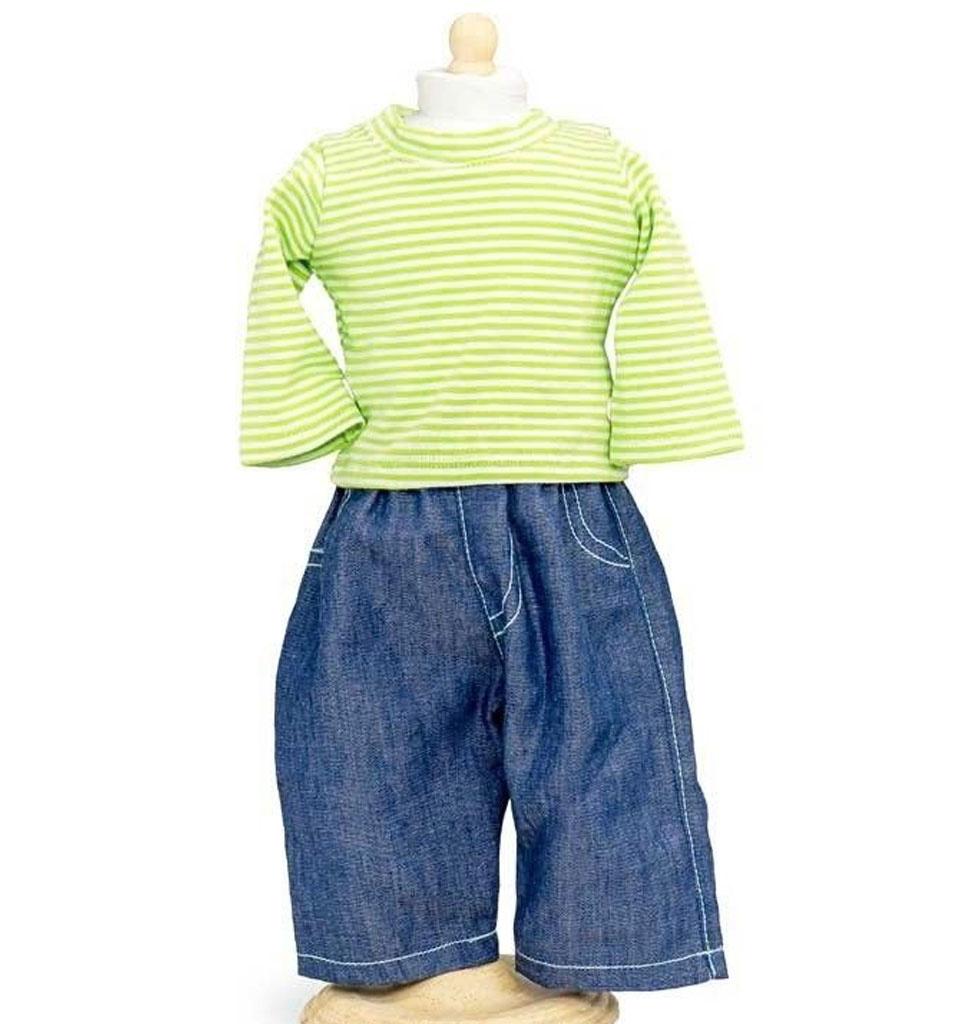 By Astrup / Mini Mommy  Mini Mommy Jeans mit gestreiftem Hemd passen sehr gut zu den Miniland Puppen von 38 cm
