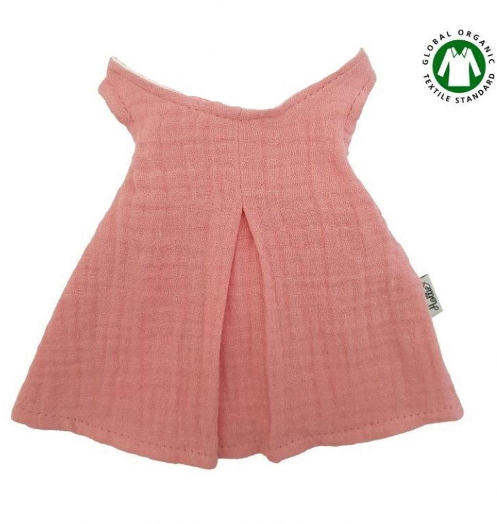 Hollie Kleid für Gordi-Puppen von Hollie / Farbe altes Rosa mit hölzernem Kleiderbügel