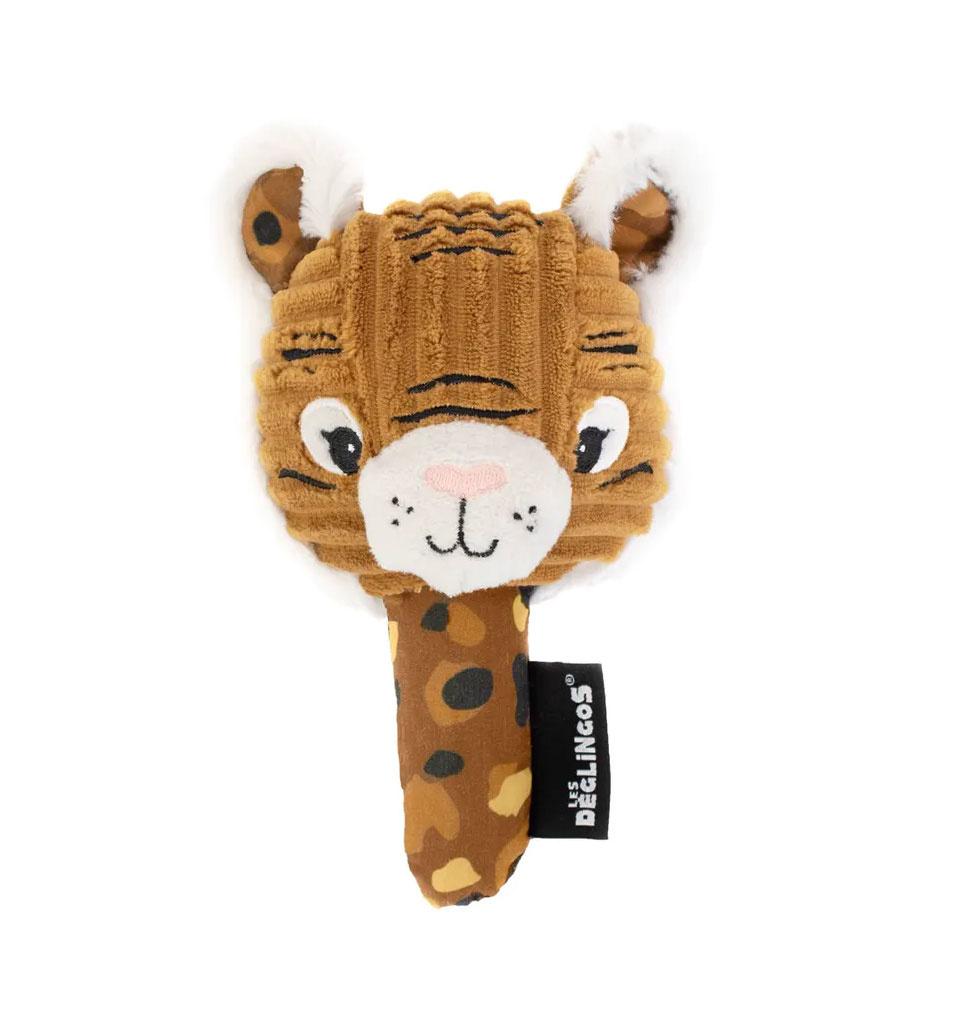 Les Déglingos  Les Déglingos tijger rammelaar met spiegel 18,5 cm