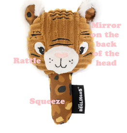 Les Déglingos  Les Déglingos tiger rattle and squeaky toy with mirror