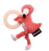 Les Déglingos  Les Deglingos flamingoknuffel met bijtring 20 cm