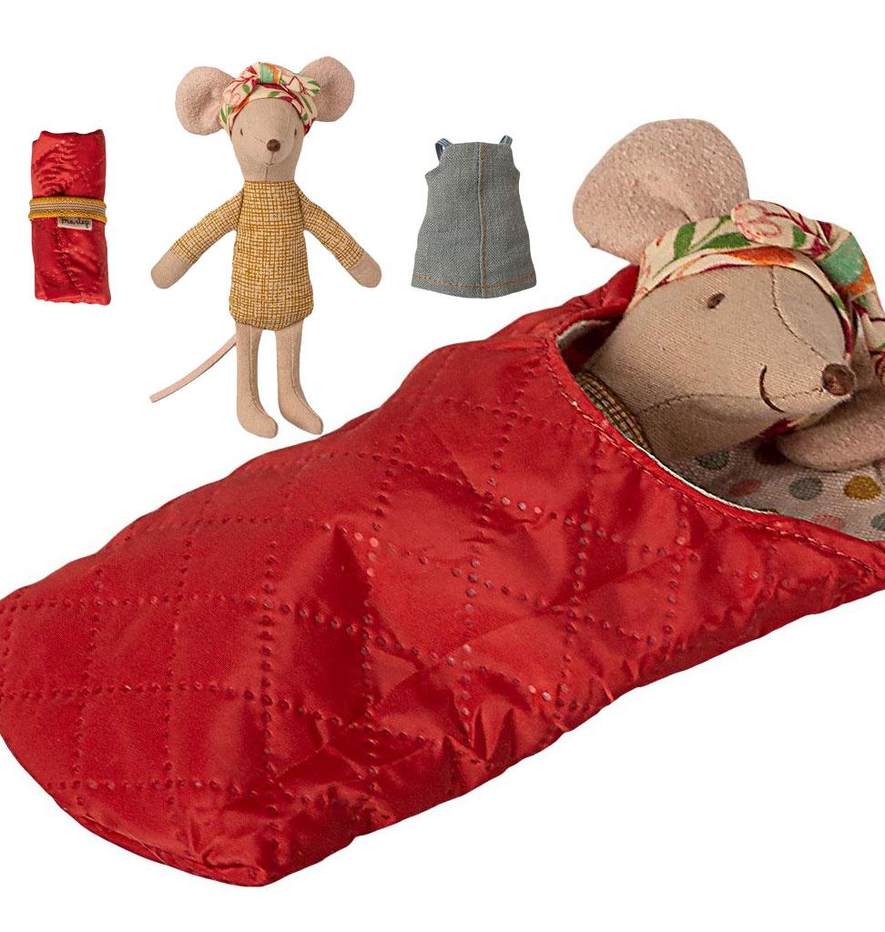 Maileg Maileg Big Sister hiking mouse with sleeping bag