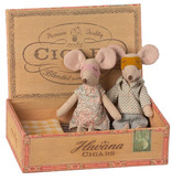 Maileg Maileg mother and father mouse in a cigarette box bed