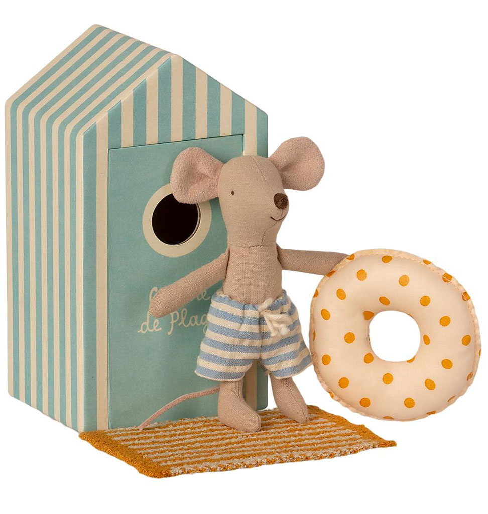 Maileg Maileg beach mouse little brother  in cabin de plage