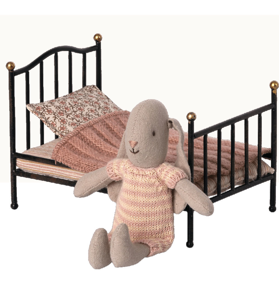 Maileg Maileg vintage bed mouse anthracite