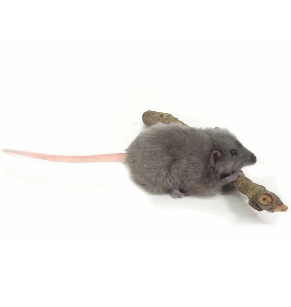Hansa knuffels grijze rat Hansa knuffels 12 cm