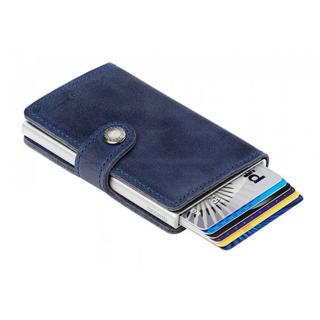 Secrid Secrid Mini Wallet Card Protector Vintage Blue leren uitschuifbare pasjes bescherming portemonnee