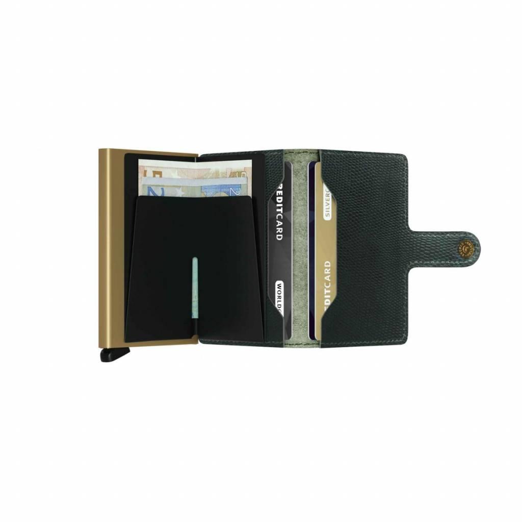 Secrid Secrid Mini Wallet Card Protector Rango Green Gold leren uitschuifbare pasjeshouder