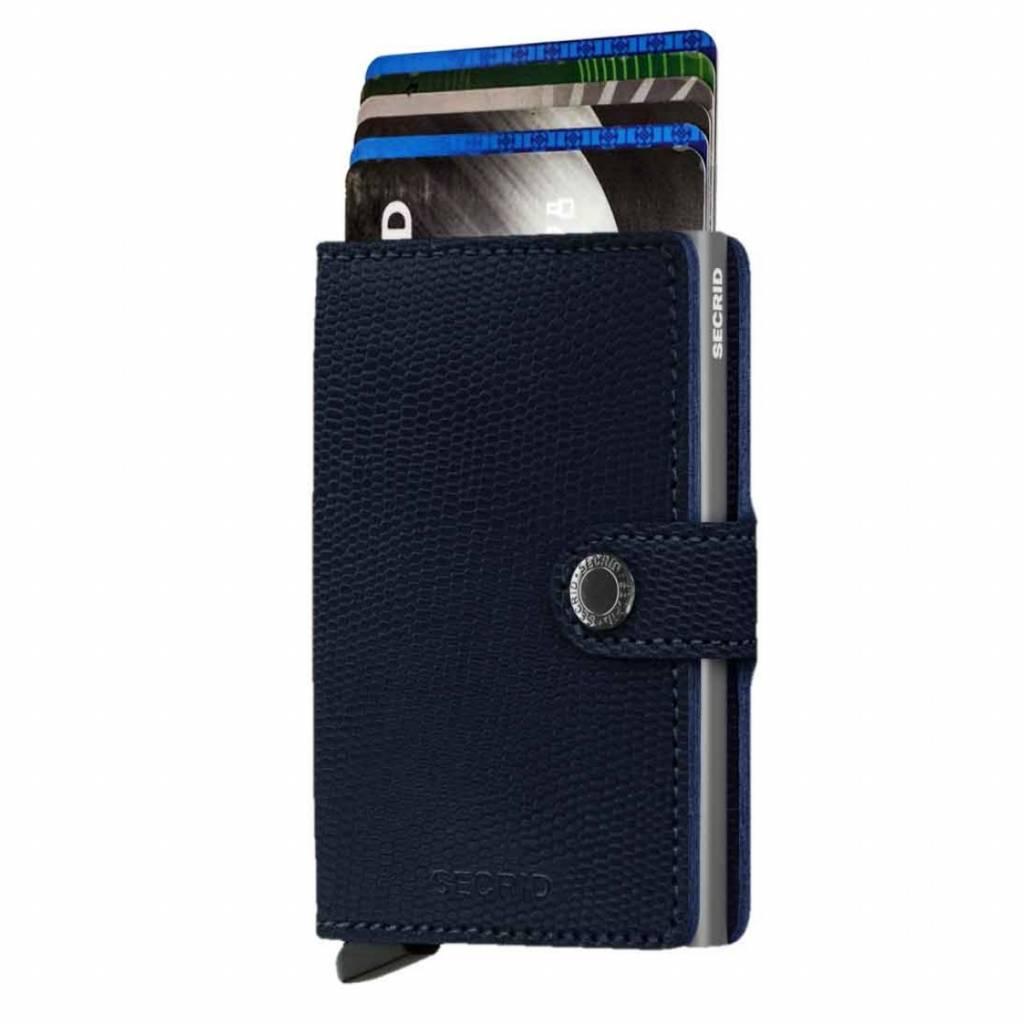 Secrid Secrid Mini Wallet Card Protector Rango Blue Titanium leren uitschuifbare pasjeshouder