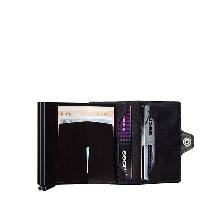 Secrid Secrid Twin Wallet Card Protector Vintage Black leren uitschuifbare pasjes bescherming portemonnee
