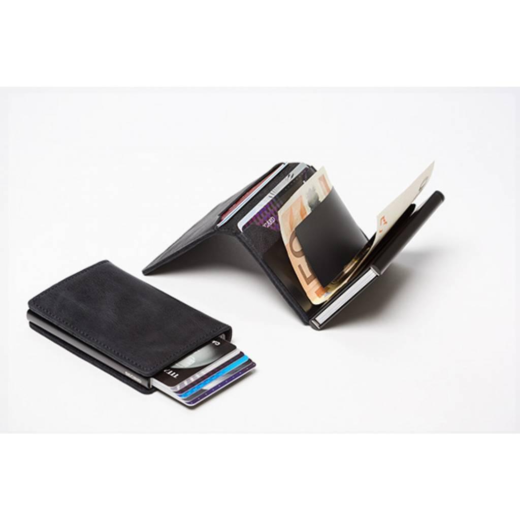 Secrid Secrid Slim Wallet Vintage Black leren uitschuifbare pasjeshouder Card Protector zwart