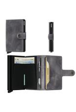 Secrid Secrid Mini Wallet Card Protector Vintage Grey-Black leren uitschuifbare pasjeshouder