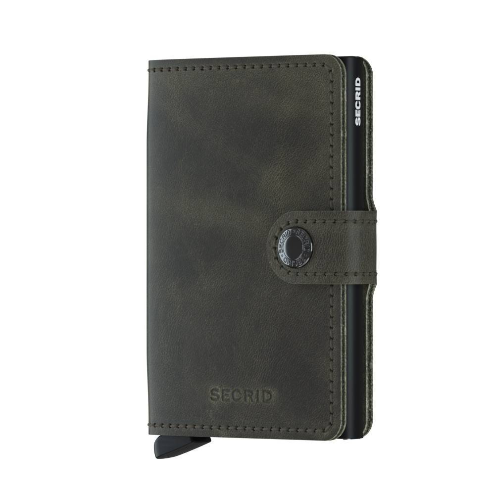 Secrid Secrid Mini Wallet Card Protector Vintage Olive-Black leren uitschuifbare pasjeshouder