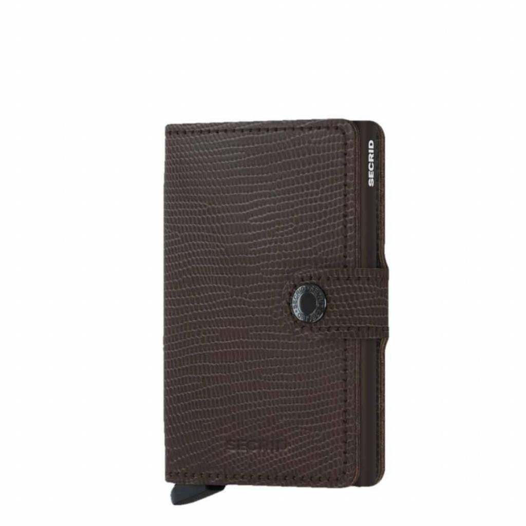 Secrid Secrid Mini Wallet Card Protector Rango Brown Brown leren uitschuifbare pasjeshouder