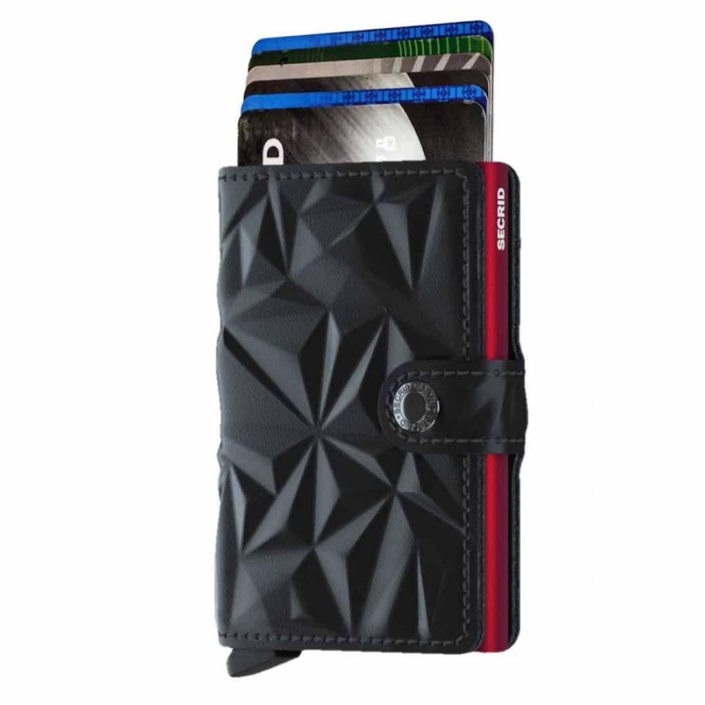 Secrid Secrid Mini Wallet Card Protector Prism Black Red leren uitschuifbare pasjeshouder