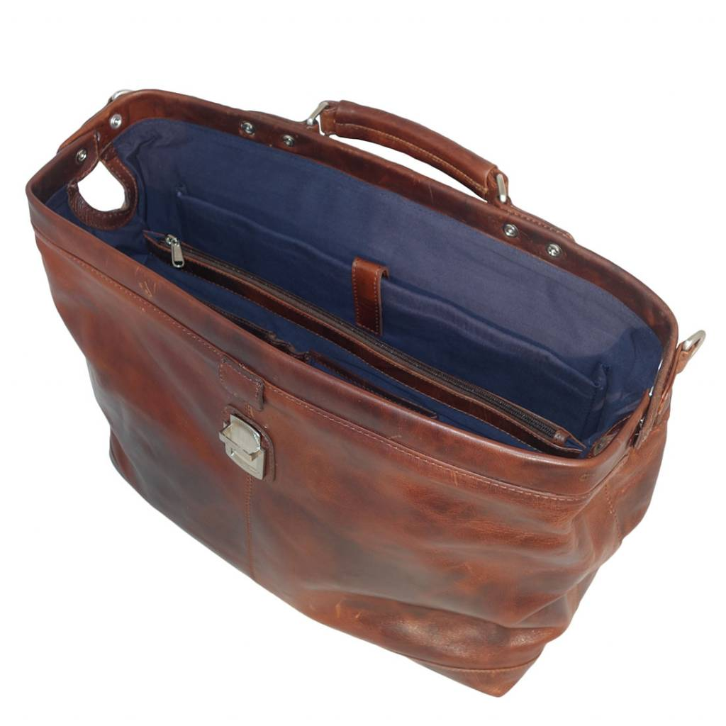 Arpello Arpello - leren dokterstas - Brandy - 15.6 inch laptoptas