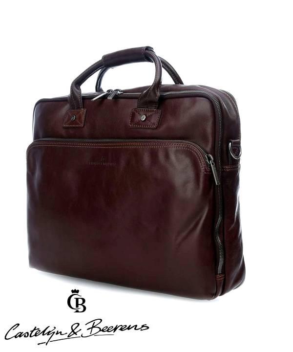 """Castelijn en Beerens Castelijn & Beerens Firenze Business dubbelvaks Laptopbag 15.6"""" mocca"""
