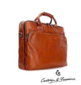 """Castelijn en Beerens Castelijn & Beerens Firenze Business dubbelvaks Laptopbag 15.6"""" licht bruin"""