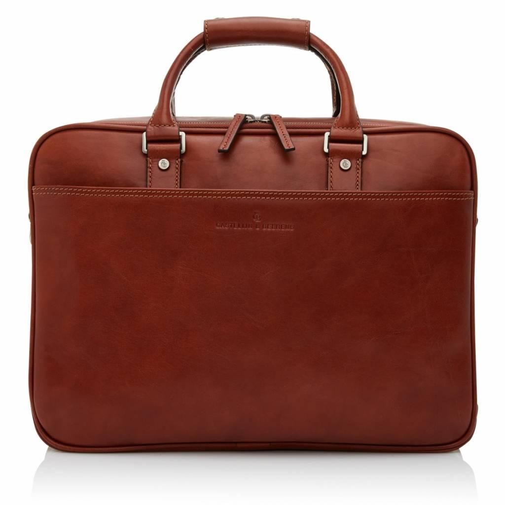 """Castelijn en Beerens Castelijn & Beerens Verona Business dubbelvaks Laptopbag 15.6"""" licht bruin"""