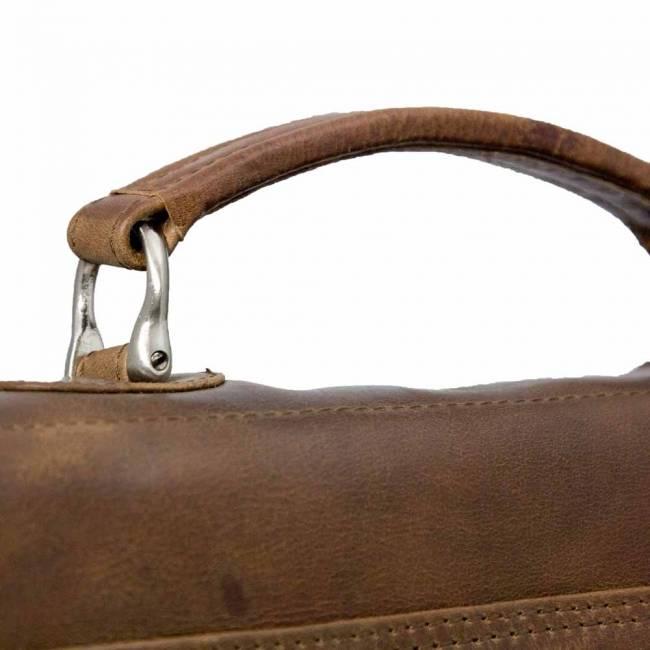 """Plevier Plevier Traditioneel gelooid leer 2-vaks cognac 15.6"""" laptoptas 725-3 businesstas"""