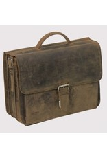 "Plevier Plevier Antiek leer 3-vaks laptoptas 15.6"" businesstas bruin 553-2"