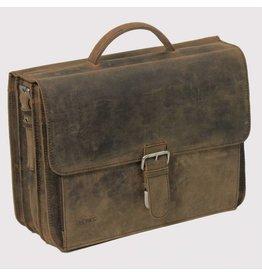 "Plevier Plevier Antiek leer 3-vaks laptoptas 15.6"" businesstas bruin"