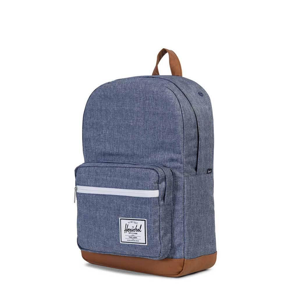 Herschel Herschel Pop Quiz Dark Chambray Crosshatch / Tan Synthetic Leather schooltas met 15 inch laptopvak