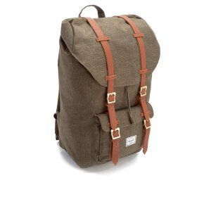 Herschel Herschel Little America Raven  Canteen Crosshatch/Tan Synthetic Leather rugzak laptoprugzak met flap