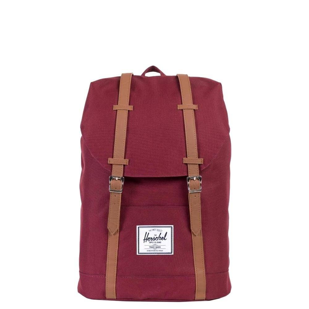 53b2feb0437 Herschel Retreat Windsor Wine/Tan Synthetic leather rugzak schooltas met 15  inch laptopvak