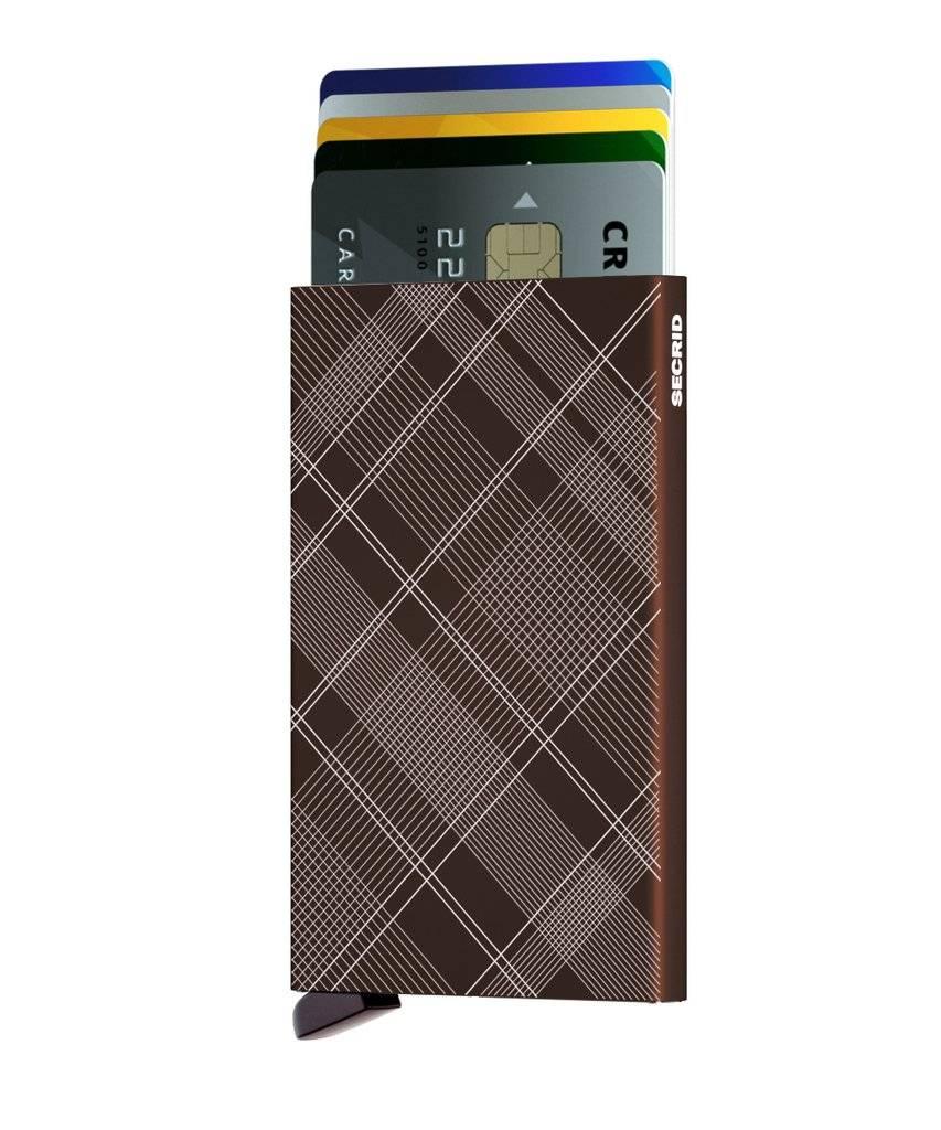 Secrid Secrid Cardprotector Laser Tartan Brown uitschuifbare pasjes bescherming pasjeshouder