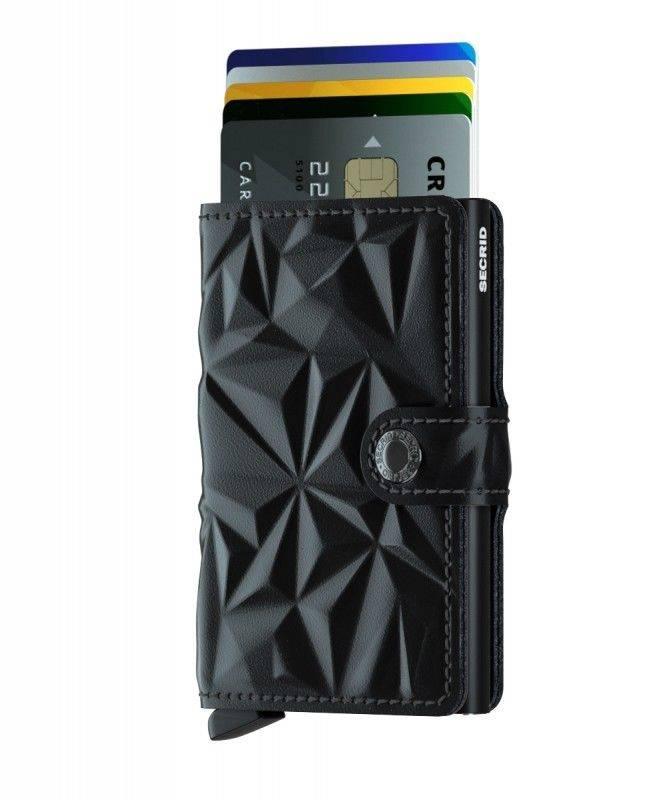 Secrid Secrid Mini Wallet Card Protector Prism Black leren uitschuifbare pasjeshouder